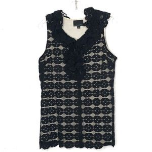 Cynthia Rowley black lace overlay sleeveless top